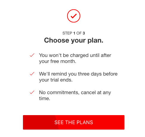 choose your plan screen
